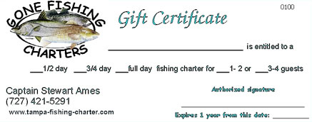Tampa Fishing Charter Gift Certificate